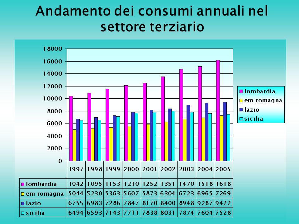 Andamento dei consumi annuali nel settore terziario