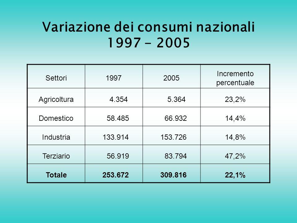 Variazione dei consumi nazionali 1997 - 2005 Settori19972005 Incremento percentuale Agricoltura 4.354 5.36423,2% Domestico 58.485 66.93214,4% Industria 133.914 153.72614,8% Terziario 56.919 83.79447,2% Totale 253.672 309.81622,1%