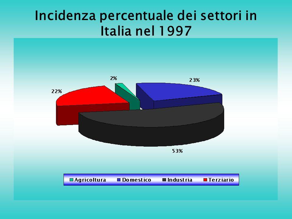 Incidenza percentuale dei settori in Italia nel 1997