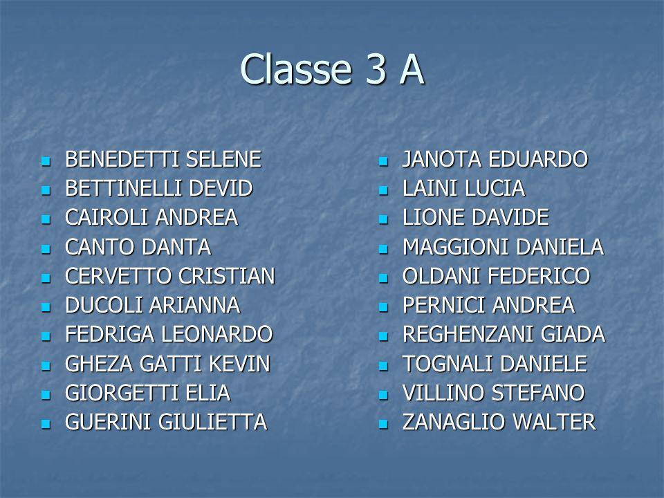 Classe 3 A BENEDETTI SELENE BENEDETTI SELENE BETTINELLI DEVID BETTINELLI DEVID CAIROLI ANDREA CAIROLI ANDREA CANTO DANTA CANTO DANTA CERVETTO CRISTIAN