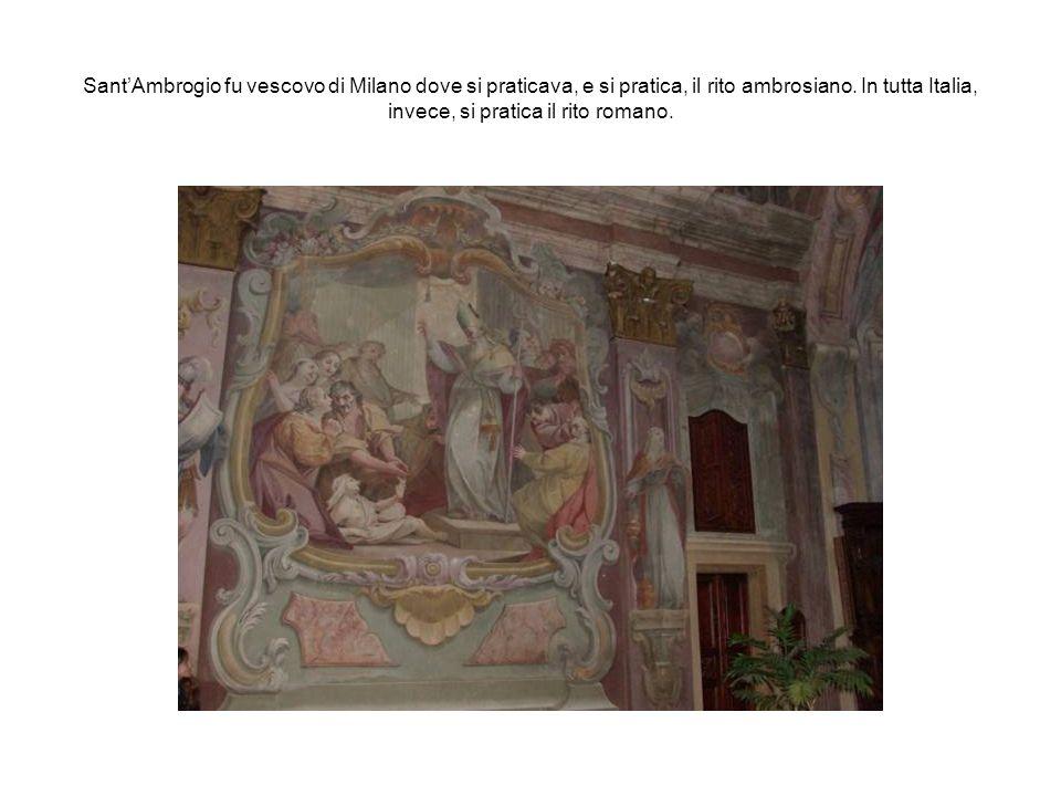 SantAmbrogio fu vescovo di Milano dove si praticava, e si pratica, il rito ambrosiano. In tutta Italia, invece, si pratica il rito romano.