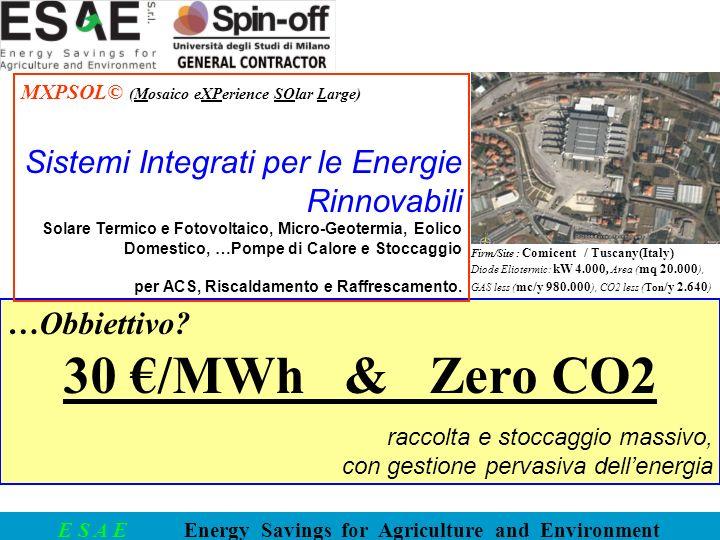E S A E Energy Savings for Agriculture and Environment …Obbiettivo? 30 /MWh & Zero CO2 raccolta e stoccaggio massivo, con gestione pervasiva dellenerg
