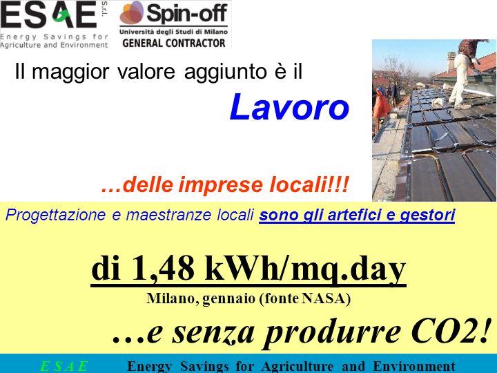 E S A E Energy Savings for Agriculture and Environment Progettazione e maestranze locali sono gli artefici e gestori di 1,48 kWh/mq.day Milano, gennai