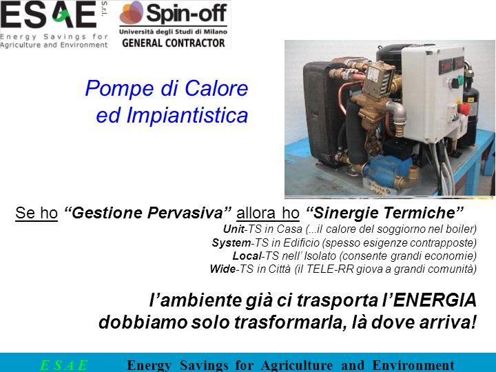 E S A E Energy Savings for Agriculture and Environment Se ho Gestione Pervasiva allora ho Sinergie Termiche Unit-TS in Casa (...il calore del soggiorn