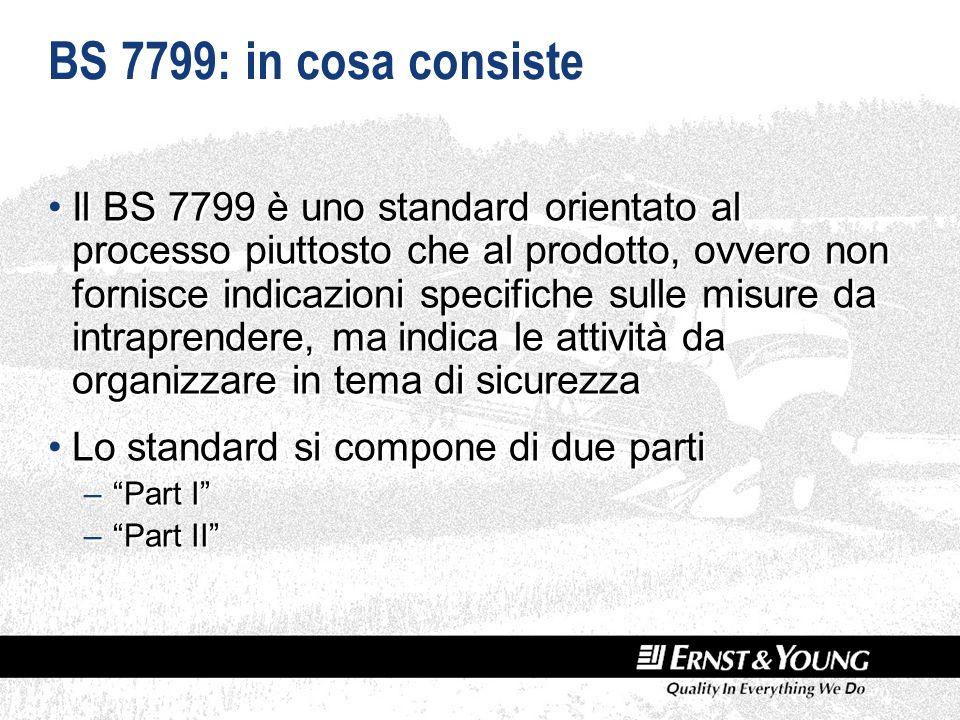 BS 7799: in cosa consiste Il BS 7799 è uno standard orientato al processo piuttosto che al prodotto, ovvero non fornisce indicazioni specifiche sulle misure da intraprendere, ma indica le attività da organizzare in tema di sicurezza Lo standard si compone di due parti –Part I –Part II Il BS 7799 è uno standard orientato al processo piuttosto che al prodotto, ovvero non fornisce indicazioni specifiche sulle misure da intraprendere, ma indica le attività da organizzare in tema di sicurezza Lo standard si compone di due parti –Part I –Part II