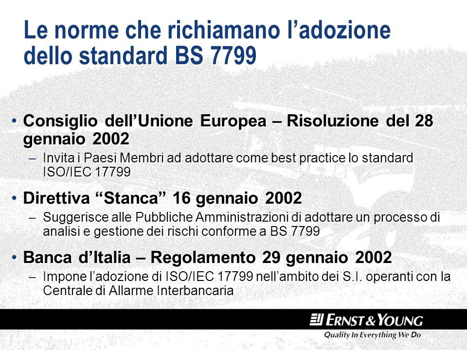 Le norme che richiamano ladozione dello standard BS 7799 Consiglio dellUnione Europea – Risoluzione del 28 gennaio 2002 –Invita i Paesi Membri ad adottare come best practice lo standard ISO/IEC 17799 Direttiva Stanca 16 gennaio 2002 –Suggerisce alle Pubbliche Amministrazioni di adottare un processo di analisi e gestione dei rischi conforme a BS 7799 Banca dItalia – Regolamento 29 gennaio 2002 –Impone ladozione di ISO/IEC 17799 nellambito dei S.I.