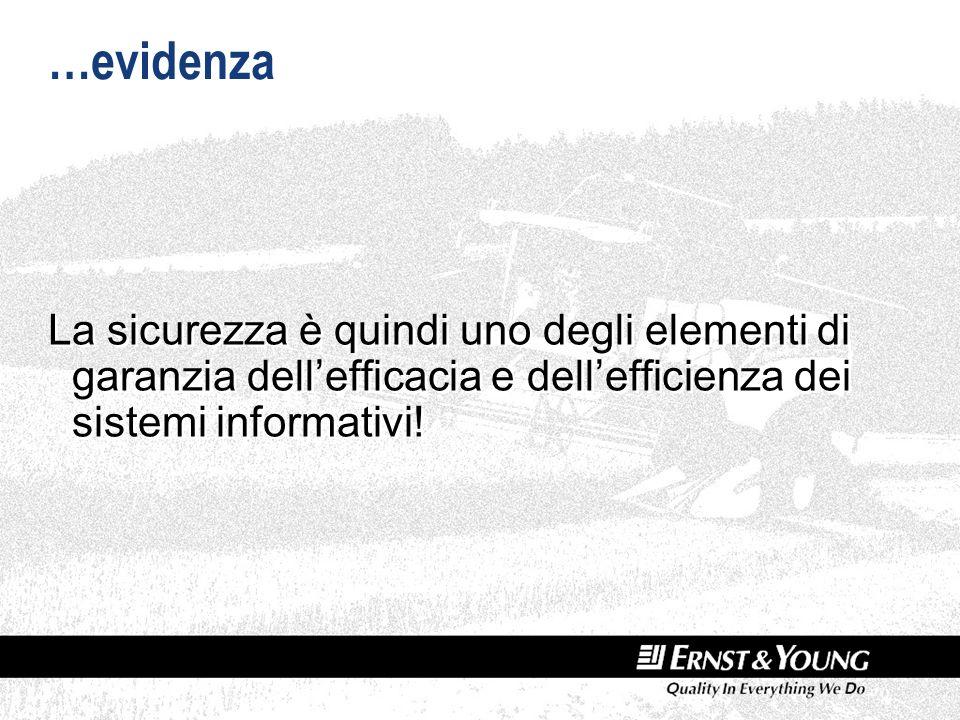 …evidenza La sicurezza è quindi uno degli elementi di garanzia dellefficacia e dellefficienza dei sistemi informativi!