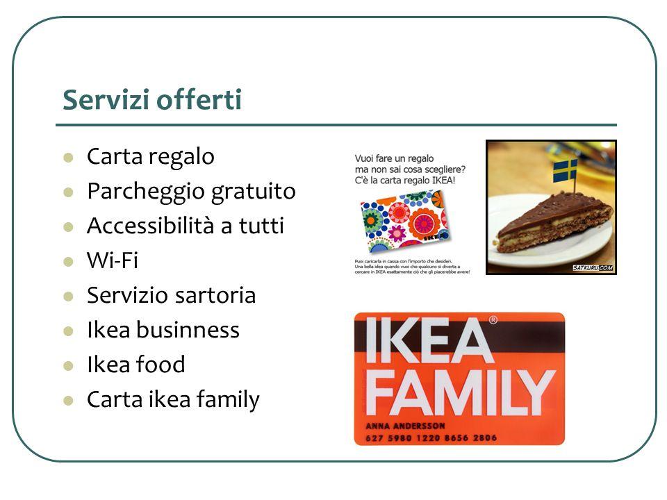 Servizi offerti Carta regalo Parcheggio gratuito Accessibilità a tutti Wi-Fi Servizio sartoria Ikea businness Ikea food Carta ikea family