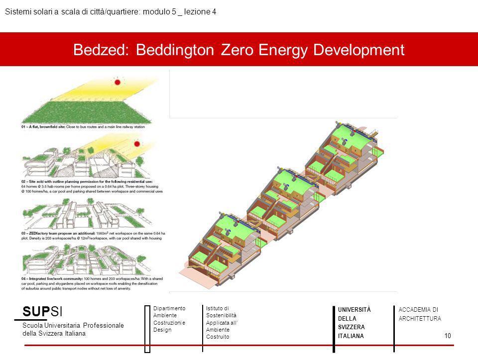 Bedzed: Beddington Zero Energy Development SUPSI Scuola Universitaria Professionale della Svizzera Italiana Dipartimento Ambiente Costruzioni e Design