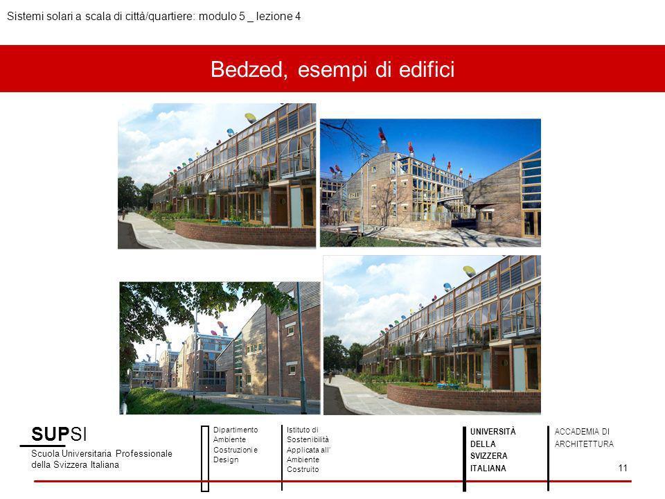 Bedzed, esempi di edifici SUPSI Scuola Universitaria Professionale della Svizzera Italiana Dipartimento Ambiente Costruzioni e Design Istituto di Sost