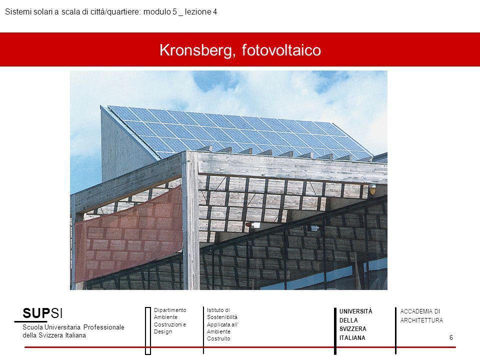 Kronsberg, fotovoltaico SUPSI Scuola Universitaria Professionale della Svizzera Italiana Dipartimento Ambiente Costruzioni e Design Istituto di Sosten