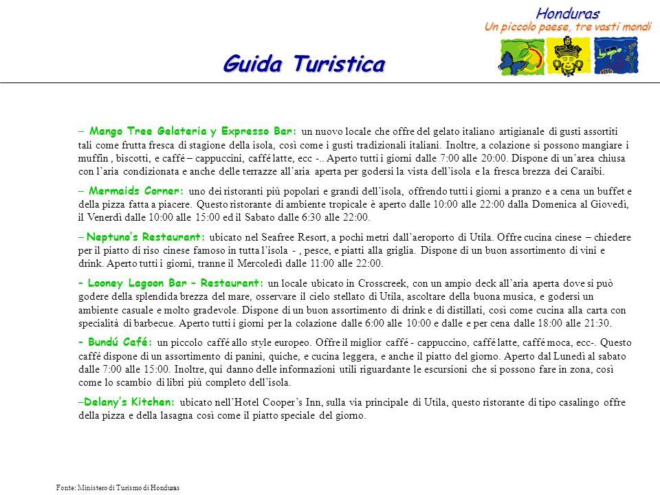 Honduras Un piccolo paese, tre vasti mondi Guida Turistica Fonte: Ministero di Turismo di Honduras – Mango Tree Gelateria y Expresso Bar: un nuovo loc