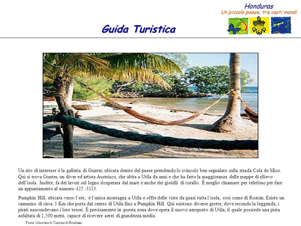 Honduras Un piccolo paese, tre vasti mondi Guida Turistica Fonte: Ministero di Turismo di Honduras Un sito di interesse è la galleria di Gunter, ubica