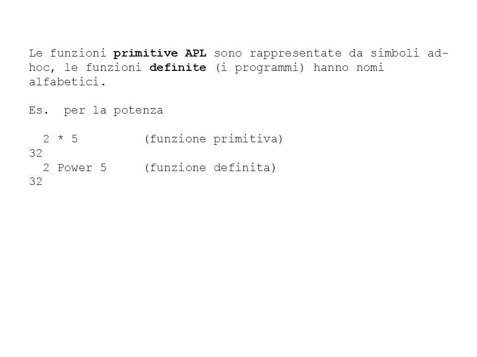 Le funzioni primitive APL sono rappresentate da simboli ad- hoc, le funzioni definite (i programmi) hanno nomi alfabetici. Es. per la potenza 2 * 5 (f
