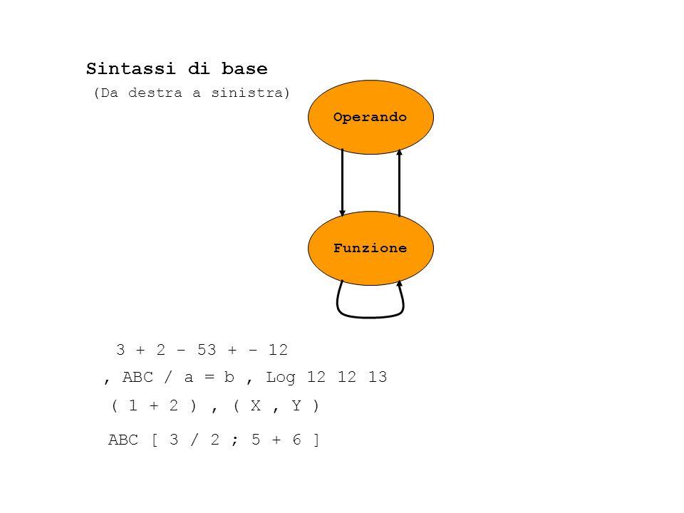 Operando Funzione 3 + 2 - 53 + - 12, ABC / a = b, Log 12 12 13 ( 1 + 2 ), ( X, Y ) ABC [ 3 / 2 ; 5 + 6 ] Sintassi di base (Da destra a sinistra)