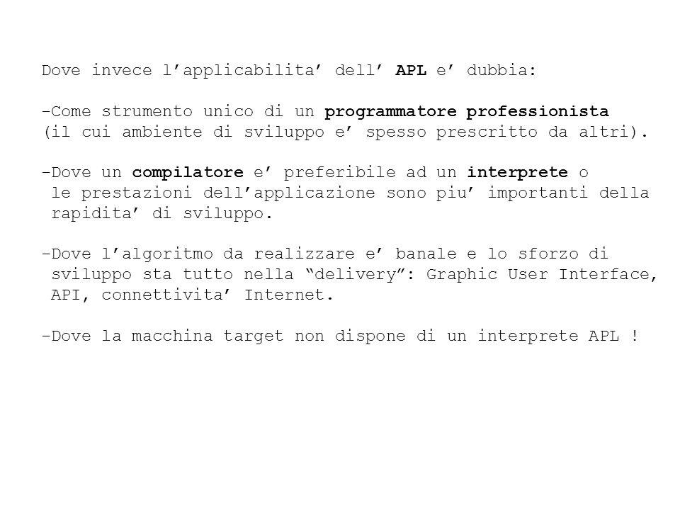 Dove invece lapplicabilita dell APL e dubbia: -Come strumento unico di un programmatore professionista (il cui ambiente di sviluppo e spesso prescritto da altri).
