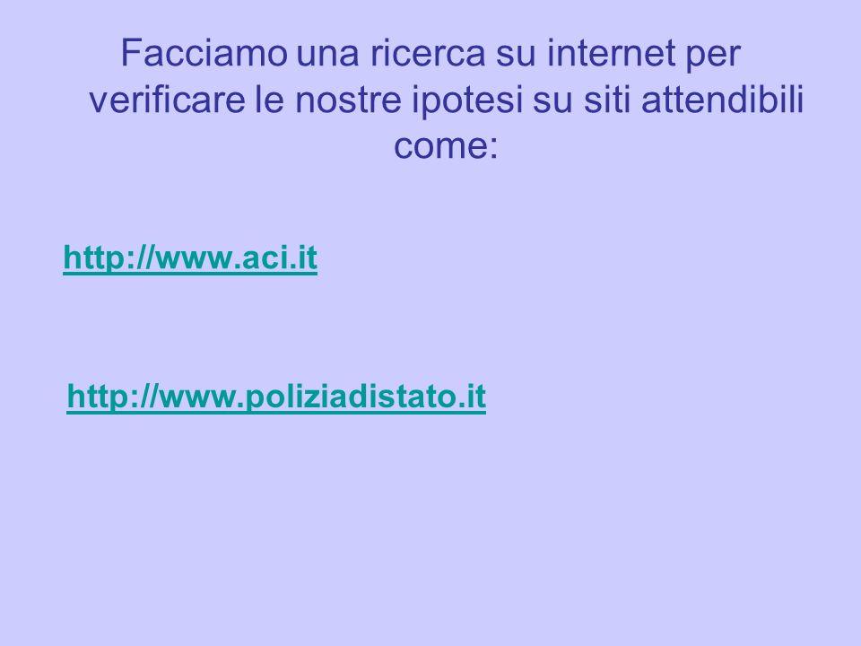 Facciamo una ricerca su internet per verificare le nostre ipotesi su siti attendibili come: http://www.aci.it http://www.poliziadistato.it