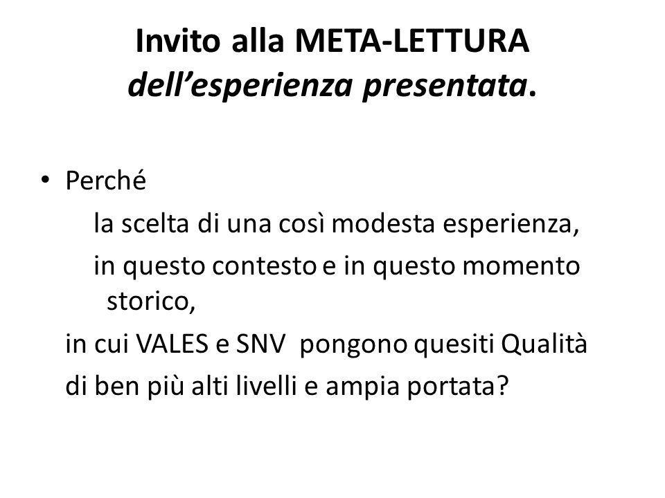 Invito alla META-LETTURA dellesperienza presentata.