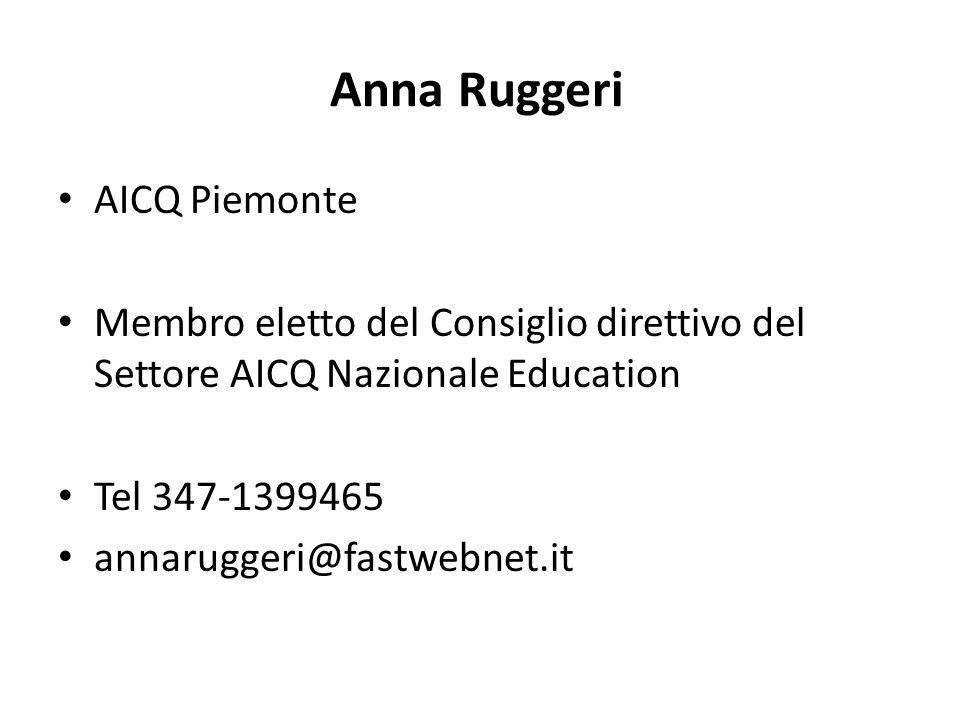 Anna Ruggeri AICQ Piemonte Membro eletto del Consiglio direttivo del Settore AICQ Nazionale Education Tel 347-1399465 annaruggeri@fastwebnet.it