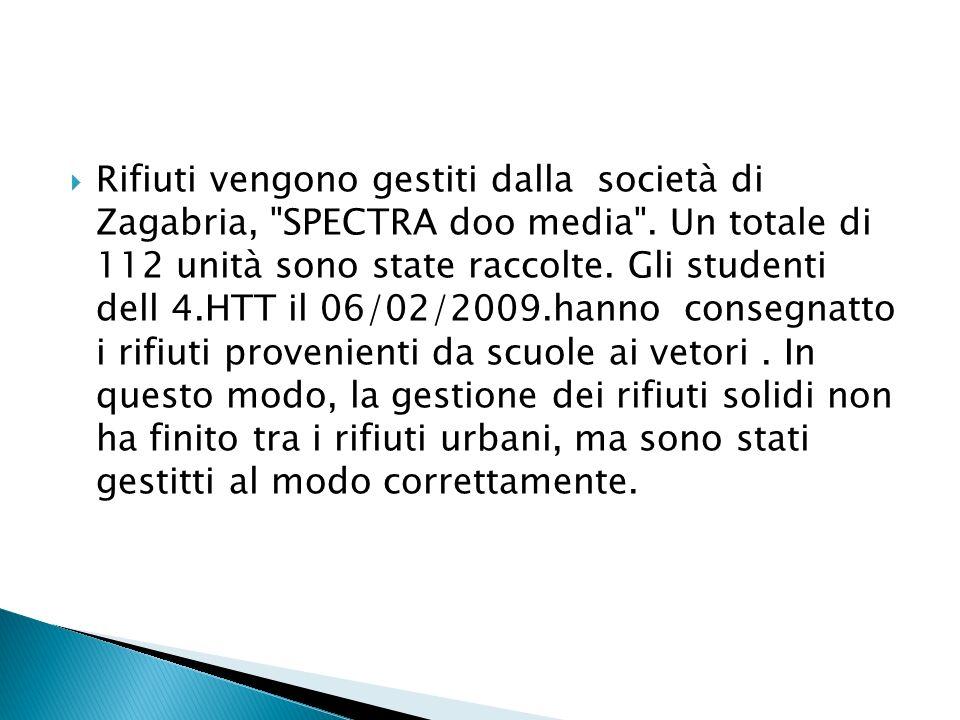 Rifiuti vengono gestiti dalla società di Zagabria, SPECTRA doo media .