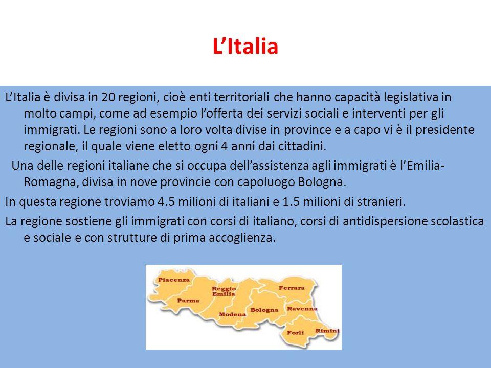 LItalia LItalia è divisa in 20 regioni, cioè enti territoriali che hanno capacità legislativa in molto campi, come ad esempio lofferta dei servizi sociali e interventi per gli immigrati.