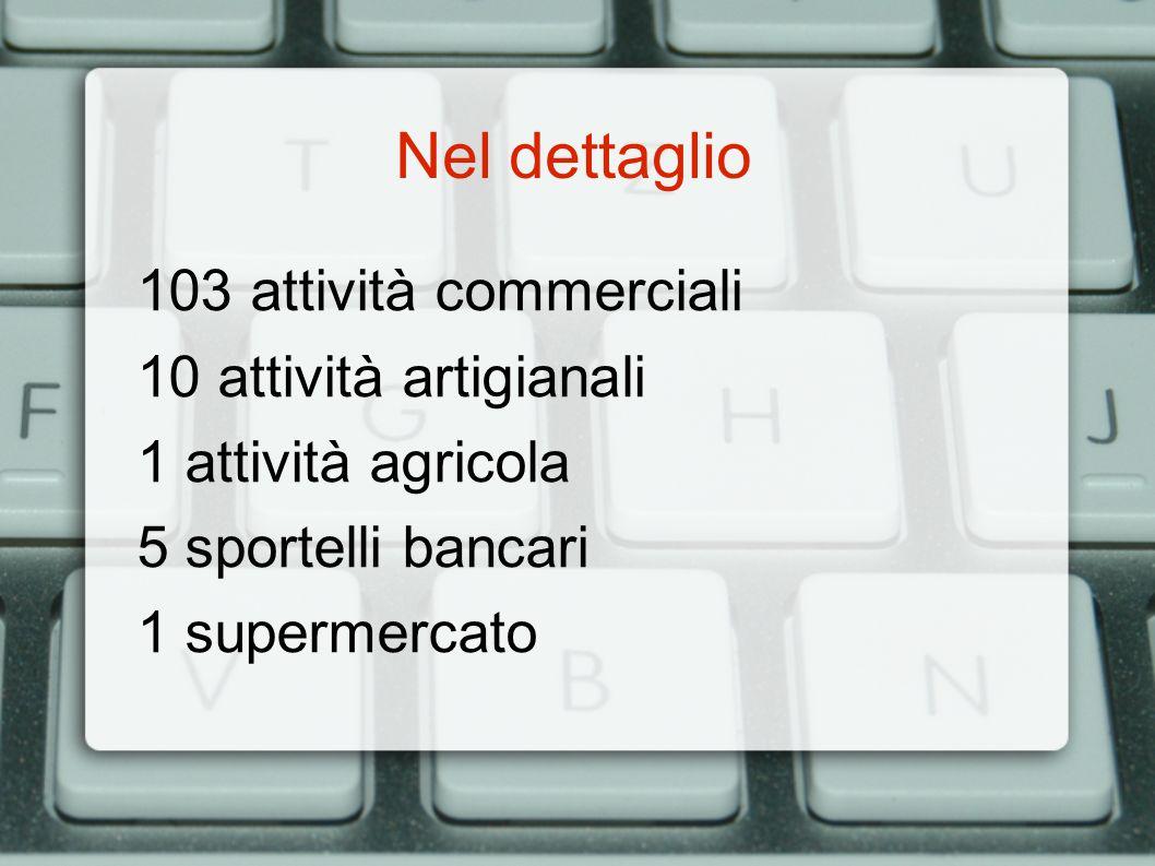 Nel dettaglio 103 attività commerciali 10 attività artigianali 1 attività agricola 5 sportelli bancari 1 supermercato