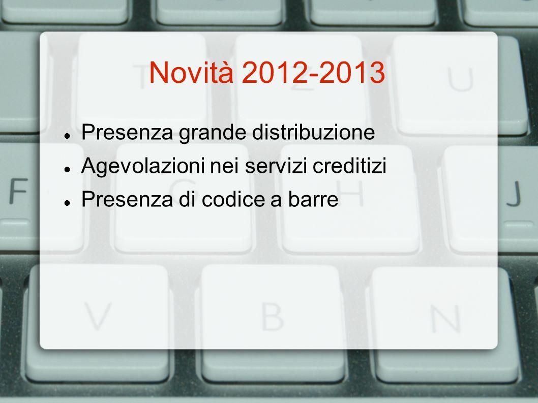 Novità 2012-2013 Presenza grande distribuzione Agevolazioni nei servizi creditizi Presenza di codice a barre