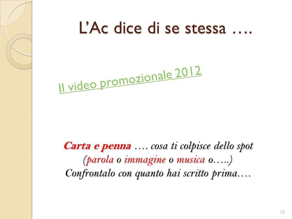 LAc dice di se stessa …. Il video promozionale 2012 Carta e penna …. cosa ti colpisce dello spot (parola o immagine o musica o…..) Confrontalo con qua