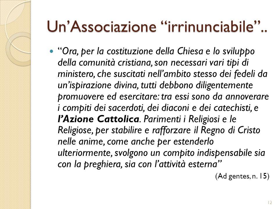 UnAssociazione irrinunciabile.. Ora, per la costituzione della Chiesa e lo sviluppo della comunità cristiana, son necessari vari tipi di ministero, ch