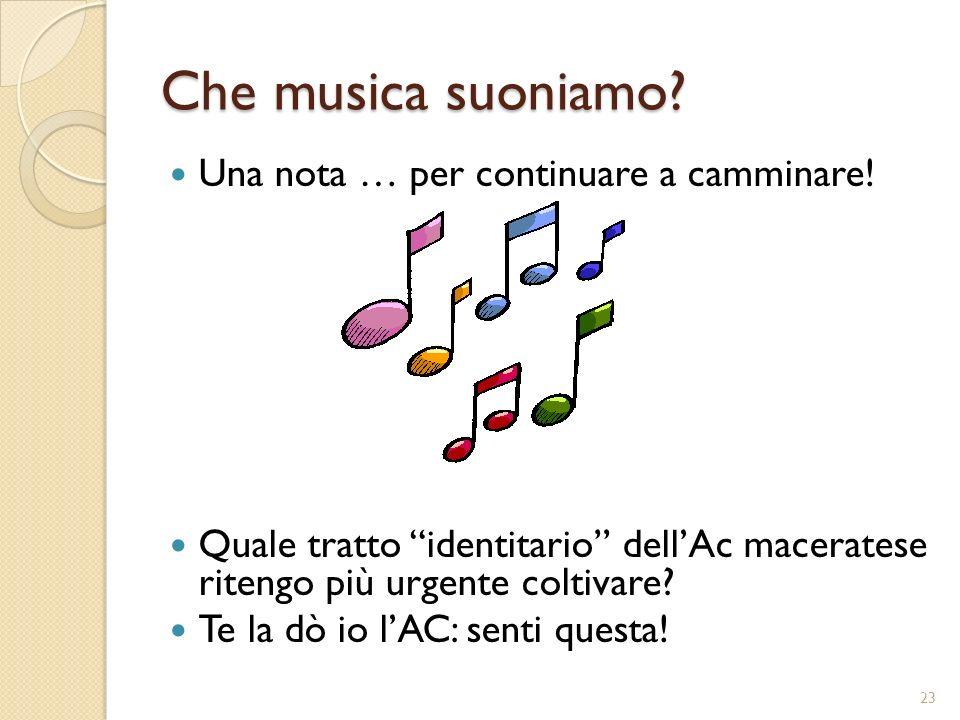 Che musica suoniamo? Una nota … per continuare a camminare! Quale tratto identitario dellAc maceratese ritengo più urgente coltivare? Te la dò io lAC: