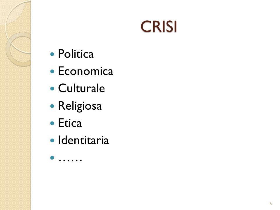 CRISI Politica Economica Culturale Religiosa Etica Identitaria …… 6