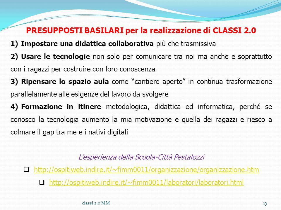 PRESUPPOSTI BASILARI per la realizzazione di CLASSI 2.0 1)Impostare una didattica collaborativa più che trasmissiva 2)Usare le tecnologie non solo per