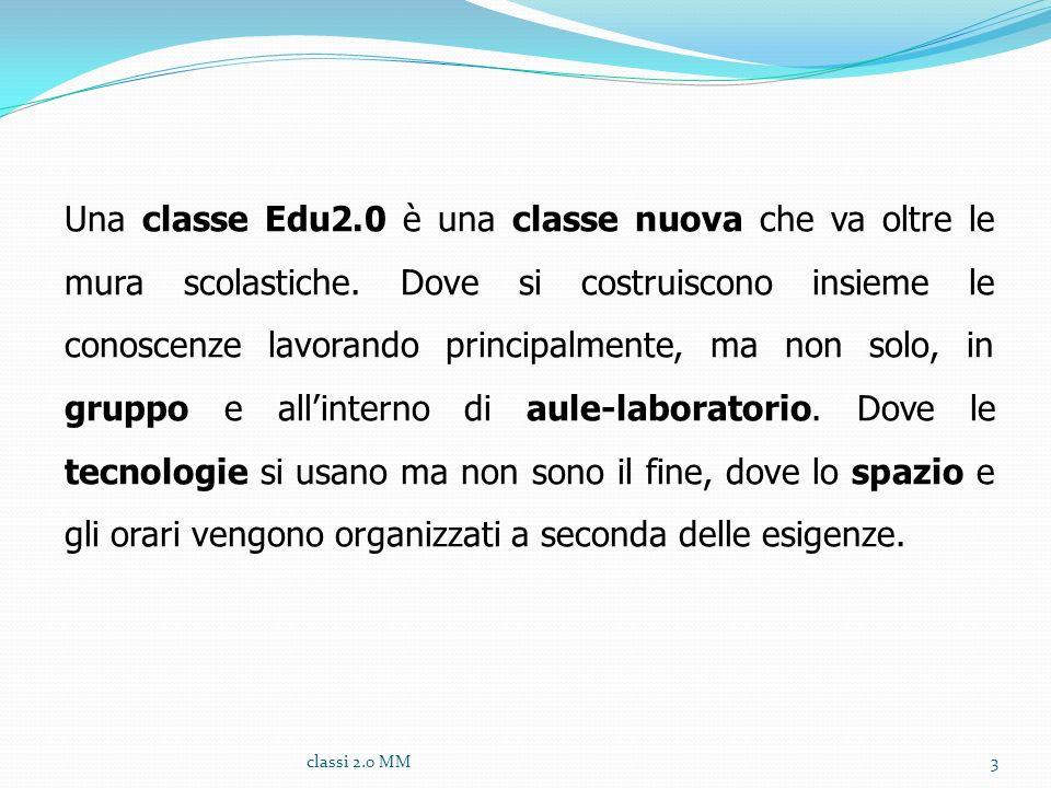 Una classe Edu2.0 è una classe nuova che va oltre le mura scolastiche. Dove si costruiscono insieme le conoscenze lavorando principalmente, ma non sol