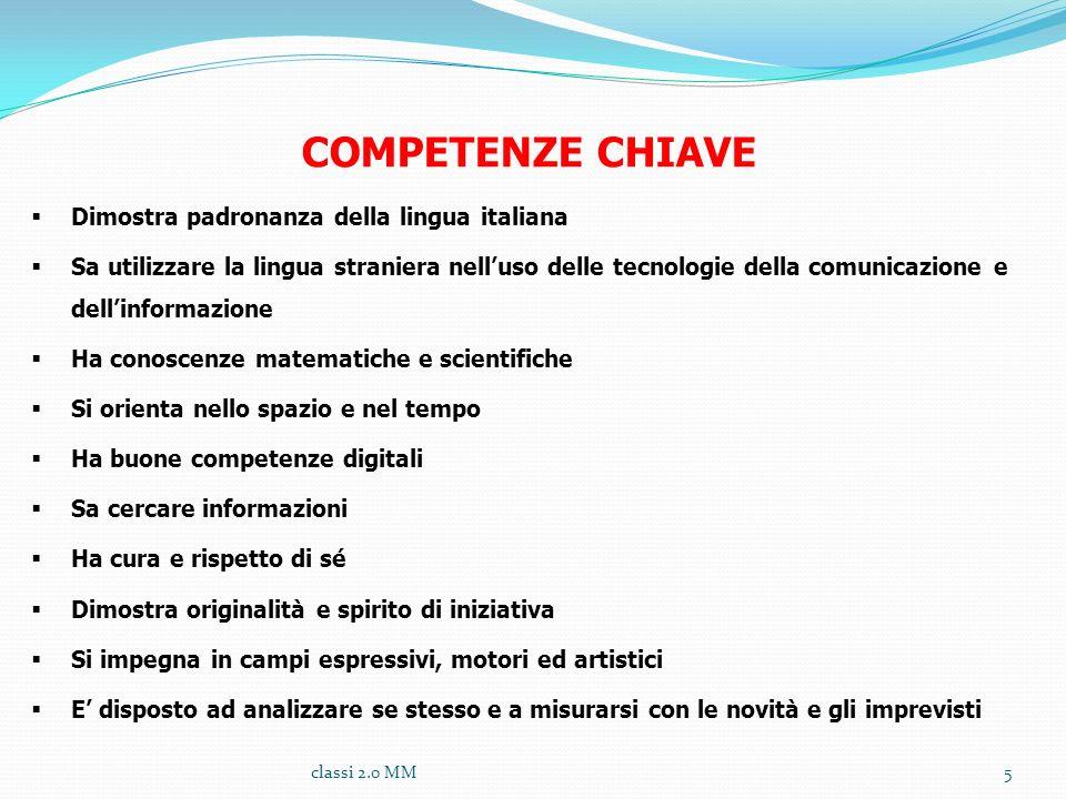 COMPETENZE CHIAVE Dimostra padronanza della lingua italiana Sa utilizzare la lingua straniera nelluso delle tecnologie della comunicazione e dellinfor