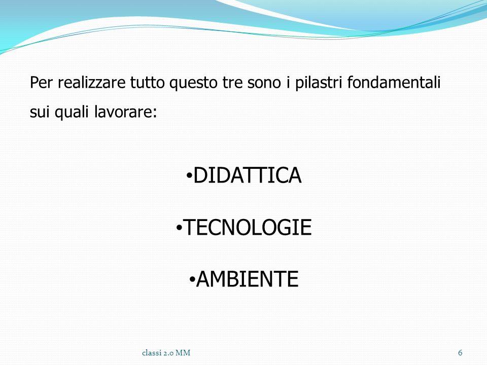 Per realizzare tutto questo tre sono i pilastri fondamentali sui quali lavorare: DIDATTICA TECNOLOGIE AMBIENTE 6classi 2.0 MM