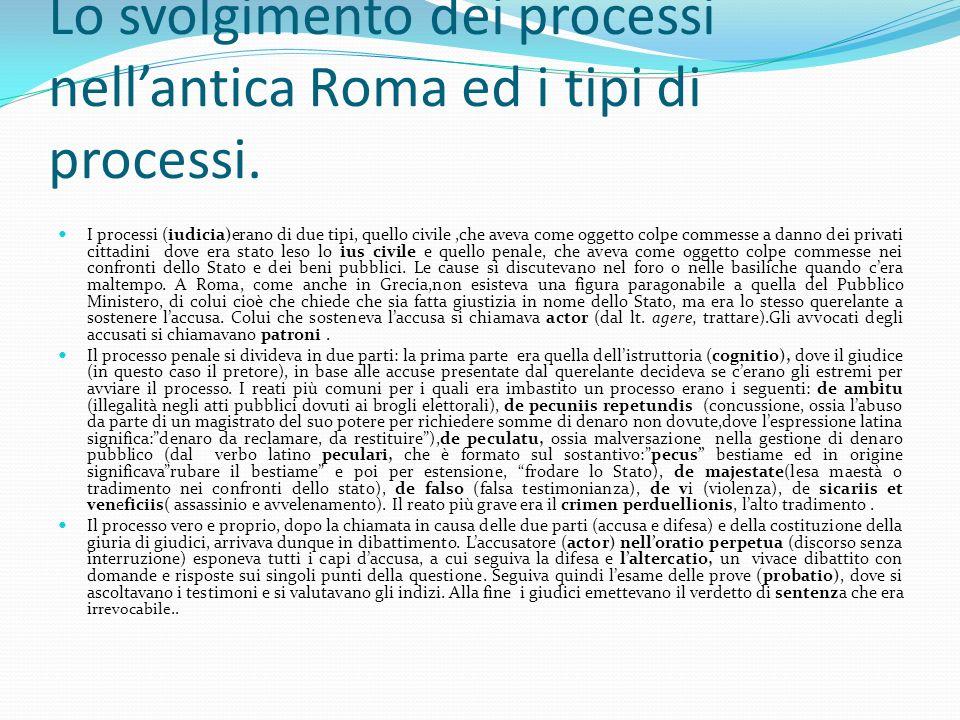 Lo svolgimento dei processi nellantica Roma ed i tipi di processi. I processi (iudicia)erano di due tipi, quello civile,che aveva come oggetto colpe c