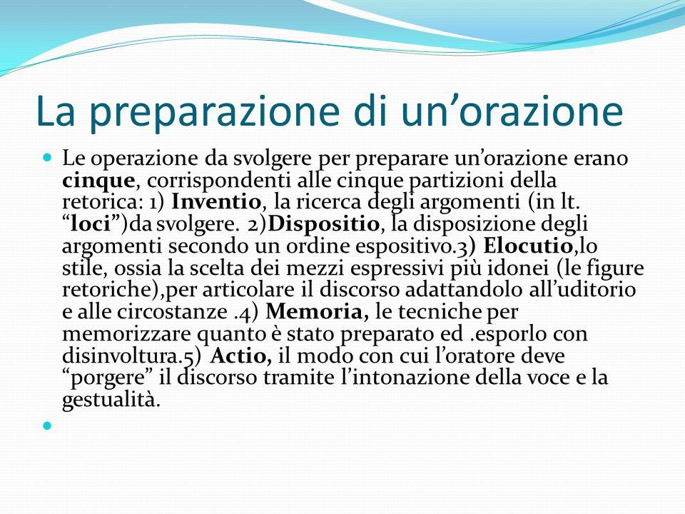 La preparazione di unorazione Le operazione da svolgere per preparare unorazione erano cinque, corrispondenti alle cinque partizioni della retorica: 1
