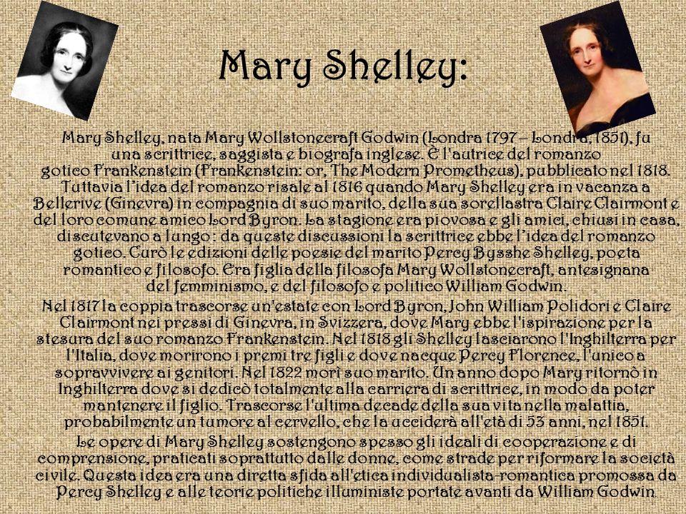 Mary Shelley: Mary Shelley, nata Mary Wollstonecraft Godwin (Londra 1797 – Londra, 1851), fu una scrittrice, saggista e biografa inglese. È l'autrice