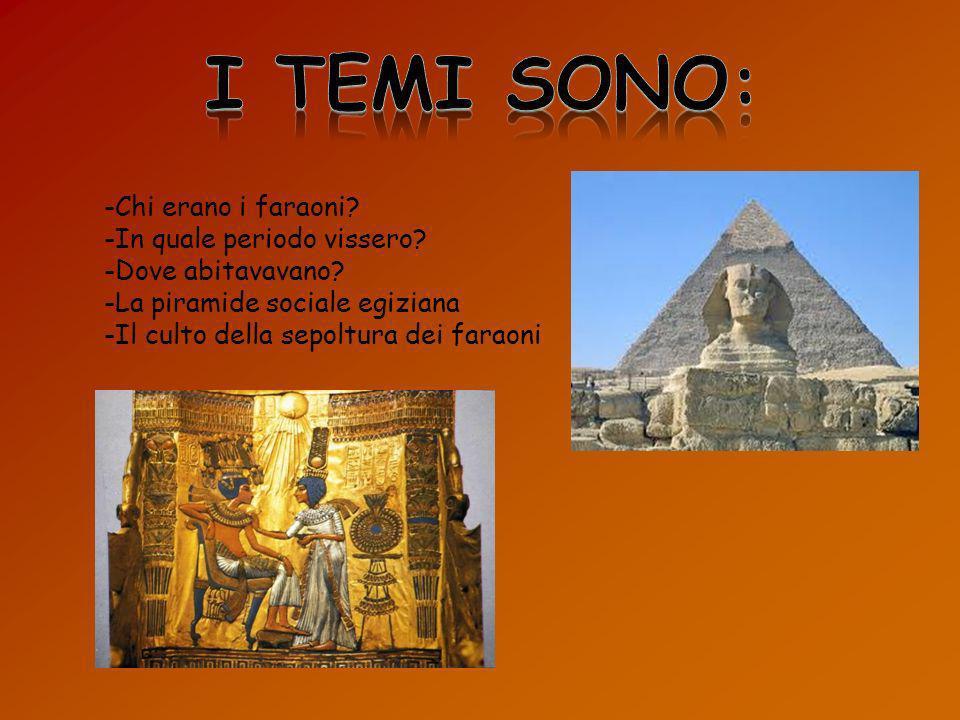-Chi erano i faraoni? -In quale periodo vissero? -Dove abitavavano? -La piramide sociale egiziana -Il culto della sepoltura dei faraoni