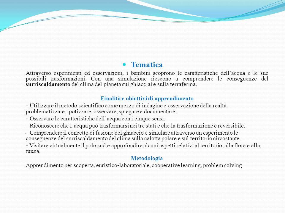 Acqua PREMESSA Il percorso è suddiviso in due parti: la prima di approfondimento e studio sullacqua e sulle sue trasformazioni (fasi 1-4); la seconda specifica sullacqua allo stato solido (fasi 5- 8).
