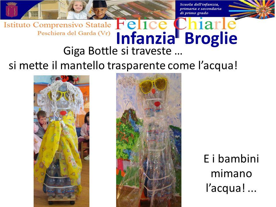 Giga Bottle si traveste … si mette il mantello trasparente come lacqua! Infanzia Broglie E i bambini mimano lacqua!...