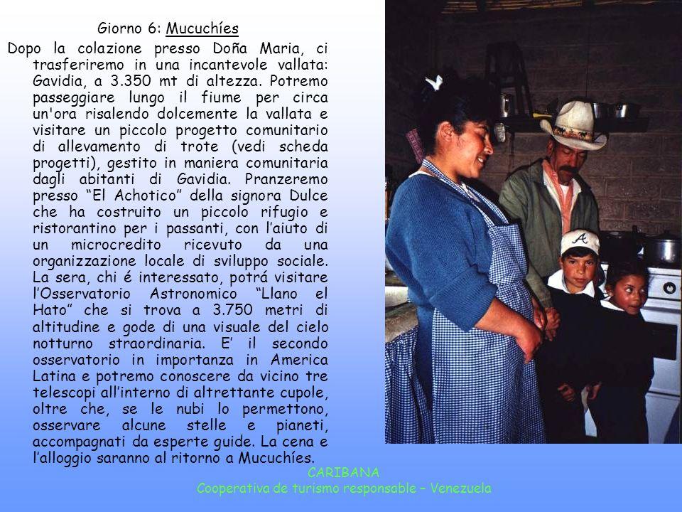 CARIBANA Cooperativa de turismo responsable – Venezuela Giorno 6: Mucuchíes Dopo la colazione presso Doña Maria, ci trasferiremo in una incantevole vallata: Gavidia, a 3.350 mt di altezza.