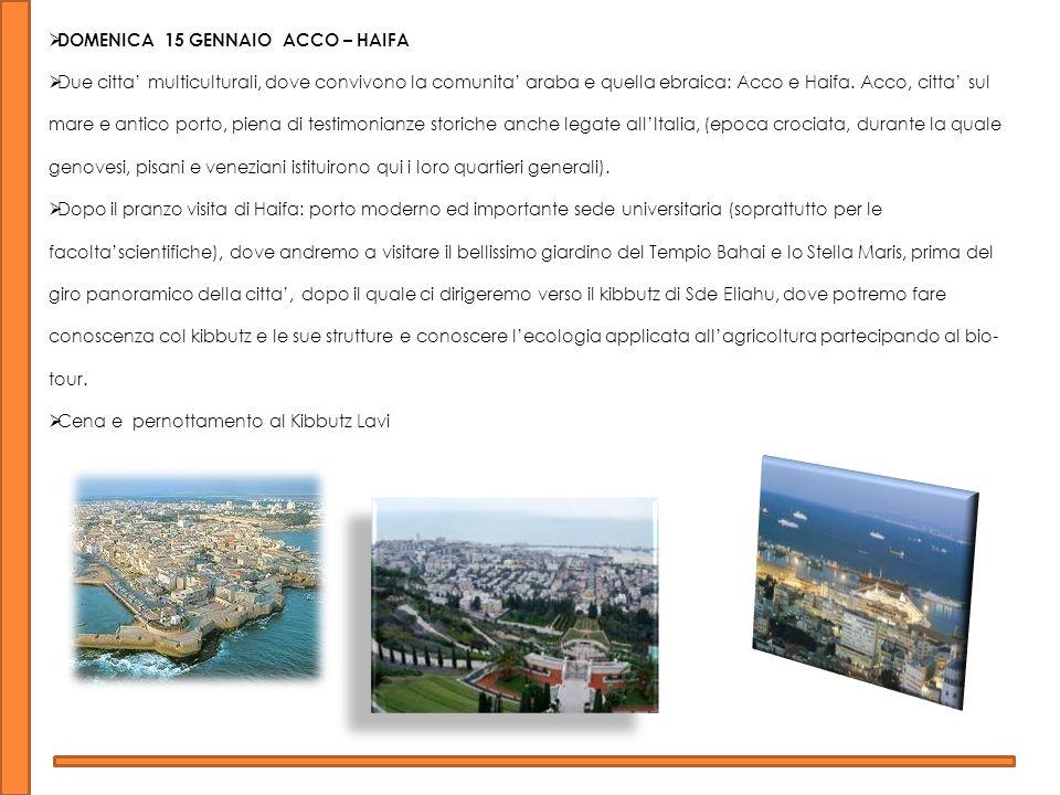 DOMENICA 15 GENNAIO ACCO – HAIFA Due citta multiculturali, dove convivono la comunita araba e quella ebraica: Acco e Haifa.
