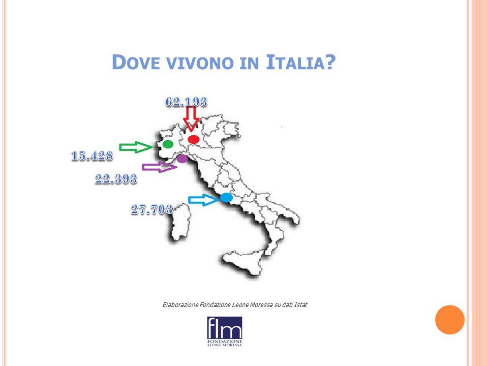 D OVE VIVONO IN I TALIA Elaborazione Fondazione Leone Moressa su dati Istat