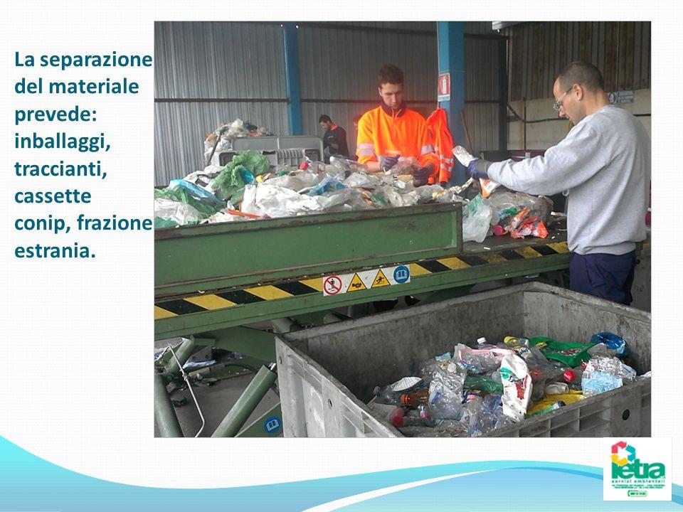 La separazione del materiale prevede: inballaggi, traccianti, cassette conip, frazione estrania.