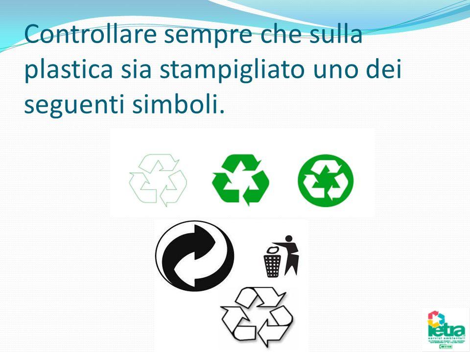 Controllare sempre che sulla plastica sia stampigliato uno dei seguenti simboli.