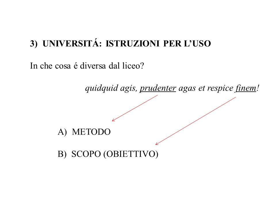 3) UNIVERSITÁ: ISTRUZIONI PER LUSO In che cosa é diversa dal liceo? quidquid agis, prudenter agas et respice finem! A) METODO B) SCOPO (OBIETTIVO)