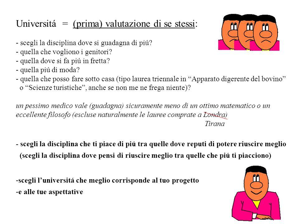 Universitá = (prima) valutazione di se stessi: - scegli la disciplina dove si guadagna di piú.