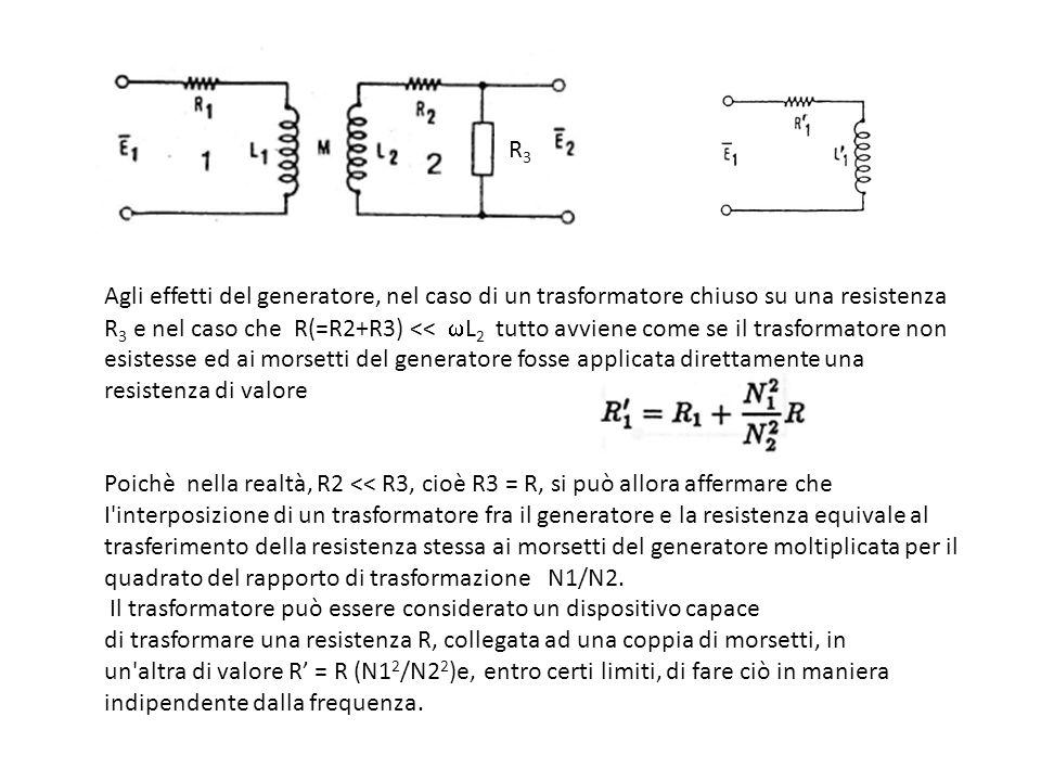 Agli effetti del generatore, nel caso di un trasformatore chiuso su una resistenza R 3 e nel caso che R(=R2+R3) << L 2 tutto avviene come se il trasfo