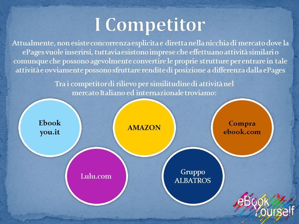 Attualmente, non esiste concorrenza esplicita e diretta nella nicchia di mercato dove la ePages vuole inserirsi, tuttavia esistono imprese che effettu